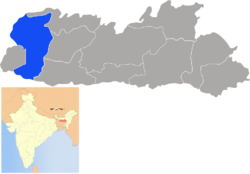 Location of West Garo Hills district in Meghalaya