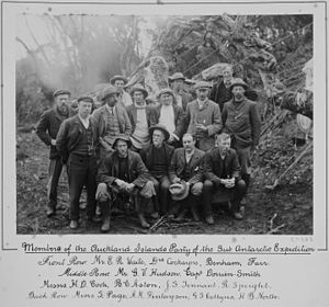 1907 Sub-Antarctic Islands Scientific Expedition - Members of the Auckland Islands party