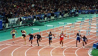 Athletics at the 2000 Summer Olympics – Men's 110 metres hurdles - Finish of the race