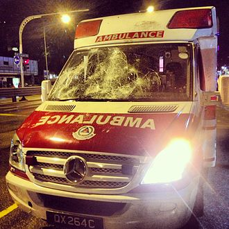 2013 Little India riot - An ambulance damaged during the riot, photographed on 9 December 2013