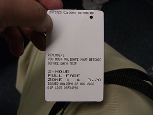 Metcard - Back of a validated Metcard