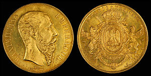 Front And Back Of An 1866 Twenty Peso Gold Coin Depicting Maximilian I Mexico