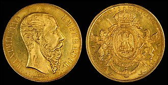 Mexican peso - Image: Mexico 1866 20 Pesos