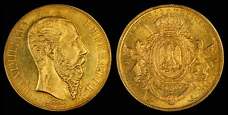 Maximilian I of Mexico depicted on a 20-peso gold coin (1866)