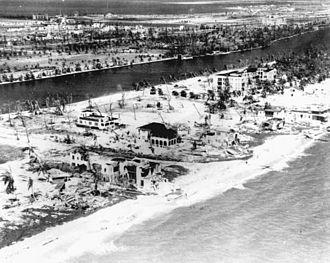 1926 Atlantic hurricane season - Devastation from the Miami hurricane at Miami Beach, Florida