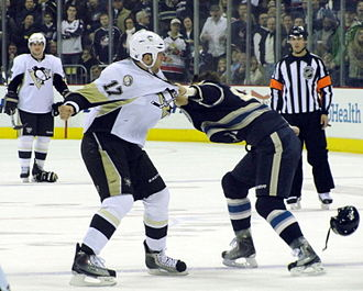 Mike Rupp - Rupp with the Penguins in 2010 fighting Columbus forward Jared Boll.