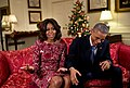 Michelle and Barack Obama recorded a holiday video message, 2014.jpg