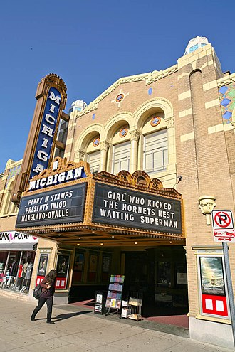 "The Girl Who Kicked the Hornets' Nest (film) - The Michigan Theater in Ann Arbor, Michigan listing the film (along with Waiting for ""Superman"") on its marquee during its limited release in the United States"