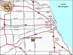 Midway International Airport - The Chicago area, featuring Chicago Midway and O'Hare International Airports