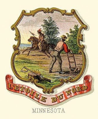 Seal of Minnesota - Historical coat of arms (illustrated, 1876)