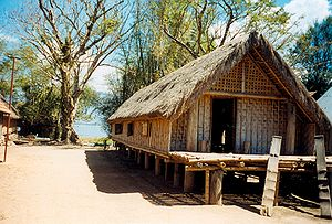 Mnong people - A longhouse in the Mnong village of Buôn Jun in the Central Highlands of Vietnam.