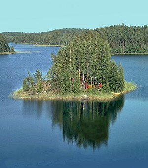 "Finnish Lakeland - A summer cottage (""mökki"") on a lake island."