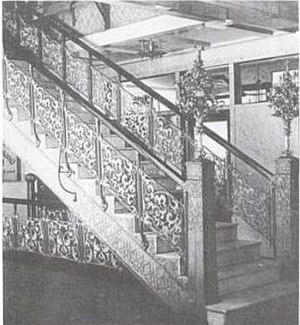 Monadnock Building - The decorative cast aluminum staircases, shown here in 1893, were the first use of aluminum in building construction.