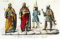 Monarchs of Hungary, Arpad, Saint Ladislaus, Saint Stephen, Geisa, Illustration for Il costume antico e moderno by Giulio Ferrario 1831.jpg