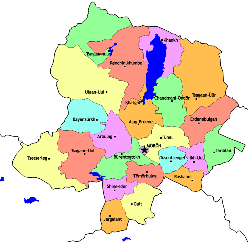 Mongolia Khovsgol sum map