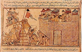 Trebuchet - 13th century depiction of Mongols using a counterweight trebuchet