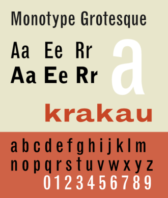 Vox-ATypI classification - Monotype Grotesque, a grotesque lineal typeface