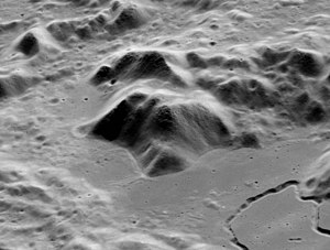 Mons Hadley - Oblique view of Mons Hadley, including Hadley Rille (lower right), from orbit