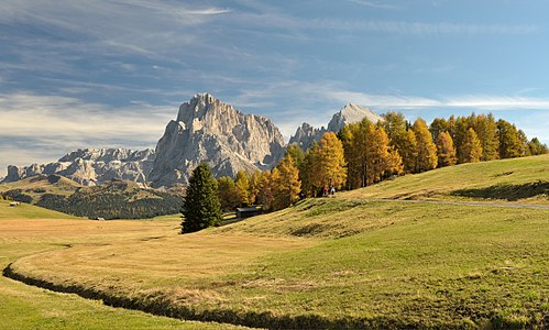 The Seiser Alm meadows in autumn and the Dolomites in the background