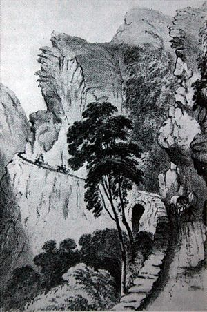 Montagu Pass - Watercolour of Montagu Pass in 1849, shortly after completion