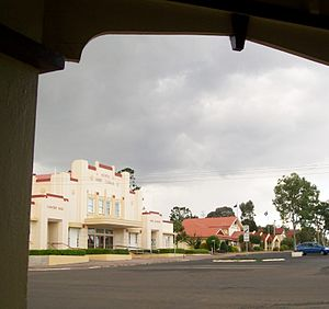 Monto, Queensland - View looking across from the Albert Hotel in Monto's main street, across to the Monto Concert Hall and Shire Council building