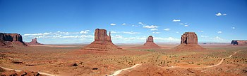 Monument Valley in southeastern Utah. This area was used to film many Hollywood Westerns.