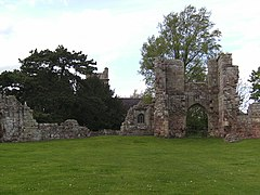 4. Inner courtyard, with gatehouse to right and church in background.