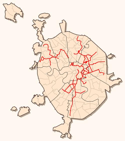 Сеть трамвайных маршрутов в