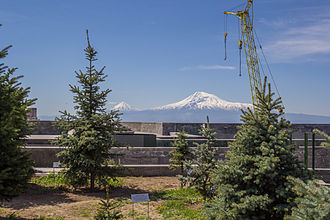 Tsitsernakaberd - View towards Mount Ararat from the terrace of the Armenian Genocide Museum, with memorial trees in the foreground
