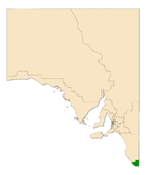 Electoral district of Mount Gambier - Electoral district of Mount Gambier (green) in South Australia
