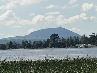 Ballarat - Ballarat's skyline hidden from this view of the city looking east across Lake Wendouree to Mount Warrenheip.