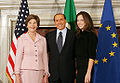 Mrs. Laura Bush and daughter, Barbara Bush, are greeted by Italian Prime Minister Silvio Berlusconi.jpg