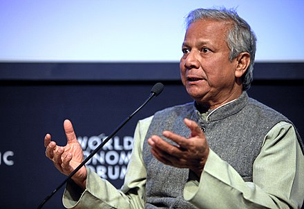 Noble-laurate Yunus at the 2009 meeting of the World Economic Forum in Davos, Switzerland Muhammad yunus at weforum.jpg