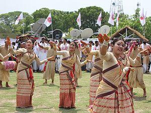 Bihu dance - Mukoli (Open) bihu dance performance at Guwahati, Assam