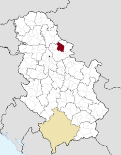 Location of Alibunar within Serbia