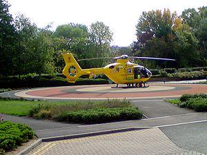 Musgrove Park Hospital - Dorset and Somerset Air Ambulance on the helipad at Musgrove Park Hospital