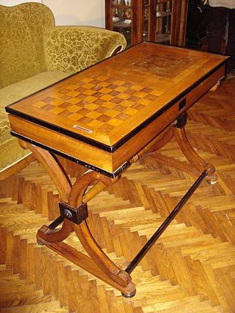 Chess table - Image: Muzej Međimurja, Čakovec (Croatia) stol za šah i mlin