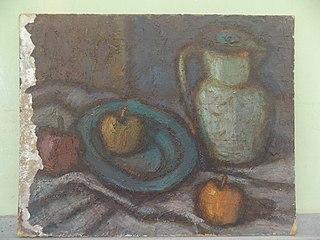 Still life (three apple and bark)