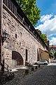 Nürnberg, Stadtbefestigung, Stadtmauer nördlich Grünes M 20170616 001.jpg