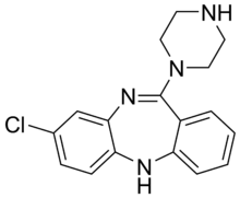 Skeletal formula of desmethylclozapine