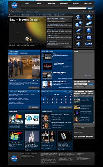 Website - A NASA.gov homepage