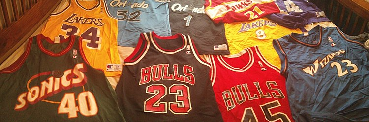 41004383bfb A sports fan's collection of NBA basketball jerseys