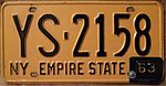 "NEW YORK 1963 LICENSE PLATE, 1962 plate with ""63"" TAB - Flickr - woody1778a.jpg"