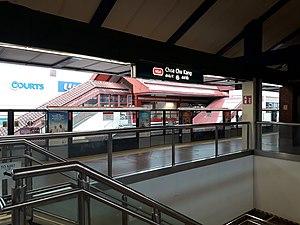Choa Chu Kang MRT/LRT Station - North South Line platform of Choa Chu Kang MRT station, with the BPLRT Platform in the background.