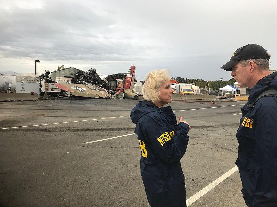 NTSB personnels at N93012 (B-17 Flying Fortress) crash scene near Bradley International Airport.jpeg