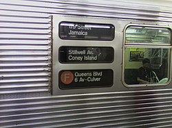 Rollsign and destination on the side of an R32 F train.