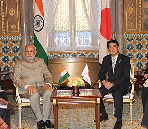 India–Japan relations - Prime Minister Narendra Modi of India and Prime Minister Shinzo Abe of Japan, during former's bilateral visit to Japan, 2014.