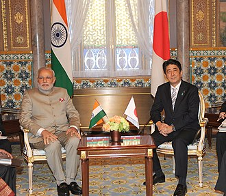 India–Japan relations - Prime Minister Narendra Modi of India and Prime Minister Shinzō Abe of Japan, during the former's bilateral visit to Japan, 2014.