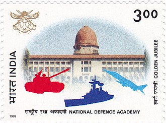 National Defence Academy (India) - A 1999 stamp dedicated to the 50th anniversary of the National Defence Academy, featuring its Sudan Block