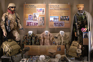 """Ramón Colón-López - The """"Warrior Airmen"""" exhibit at the U.S. Air Force Museum with a mannequin of Colón-López on the right"""